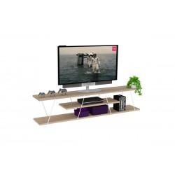 Έπιπλο tv Tars χρώμα sonoma με λεπτομέρειες σε λευκό χρώμα c37030