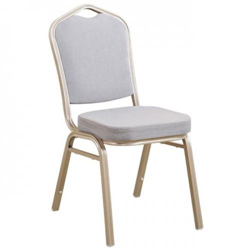 HILTON Καρέκλα Μεταλλική Light Gold Ύφασμα Γκρι c38592