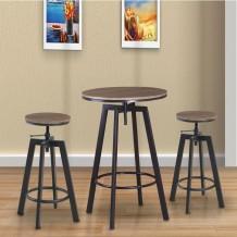 YORK set bar τραπέζι D 64cm και 2 σκαμπώ μέταλλο σκούρο καφέ wenge c39803