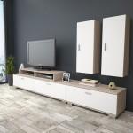 Έπιπλο τηλεόρασης με ντουλάπι HM2295 02 λευκό μόκα c41004