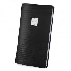 Menu δερμάτινο, μαύρο, με 2 διαφάνιες για 8 σελίδες 4RE 15.3x29.7cm DAG c42495