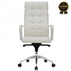 Καρέκλα γραφείου διευθυντή Alabama SUPREME QUALITY με λευκό τεχνόδερμα c43831