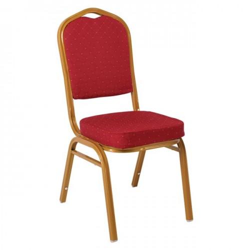 Καρέκλα μεταλλική gold ύφασμα κόκκινο c9068